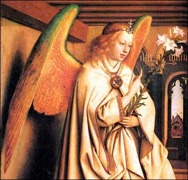 Medieval angel with lily