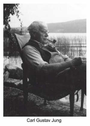 Carl Gustav Jung sitting in a chair, reading by the lake